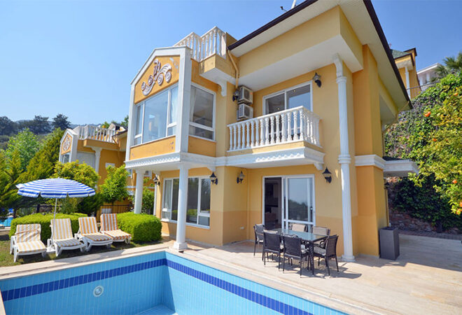 villa with private swimming pool for sale in alanya tepe